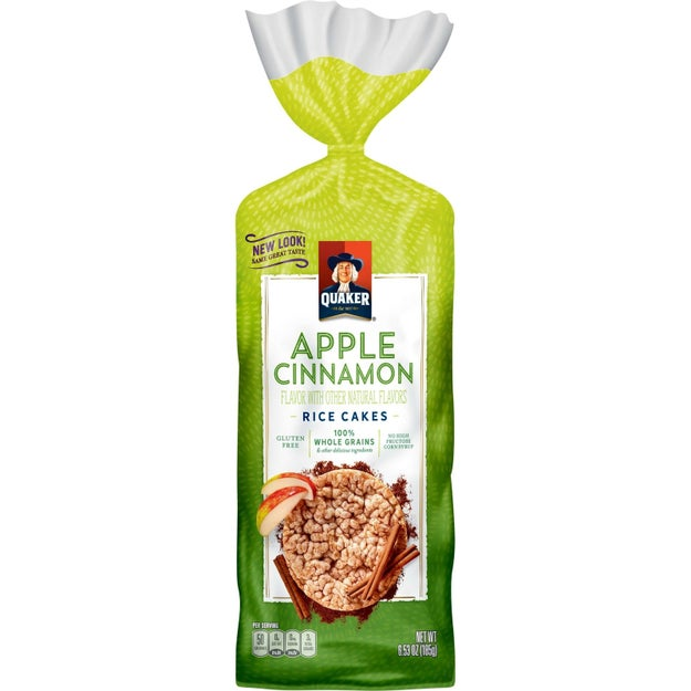 A bag of apple cinnamon rice cakes with just the right amount of sweetness to satisfy late-night sweet tooth cravings.