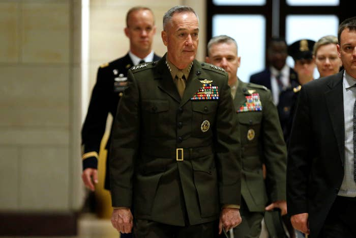 Marine Corps Gen. Joseph Dunford, chair of the Joint Chiefs of Staff, arrives for a closed-door briefing on Syria for the US House of Representatives.