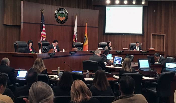 The Orange County Board of Supervisors gathers during a meeting in Santa Ana, California, on Tuesday, March 27, 2018.