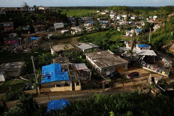 Houses partially destroyed by Hurricane Maria are seen at the community of Villa Hugo in Canóvanas, Puerto Rico.