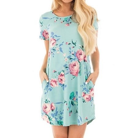 d113763d4f5 A floral T-shirt dress perfect for a pretty spring day. Walmart
