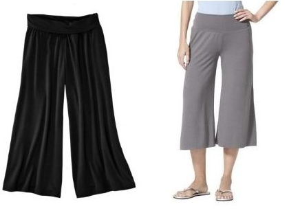 A product shot of black and grey gauchos