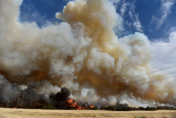 The Rhea Fire as seen on Tuesday.