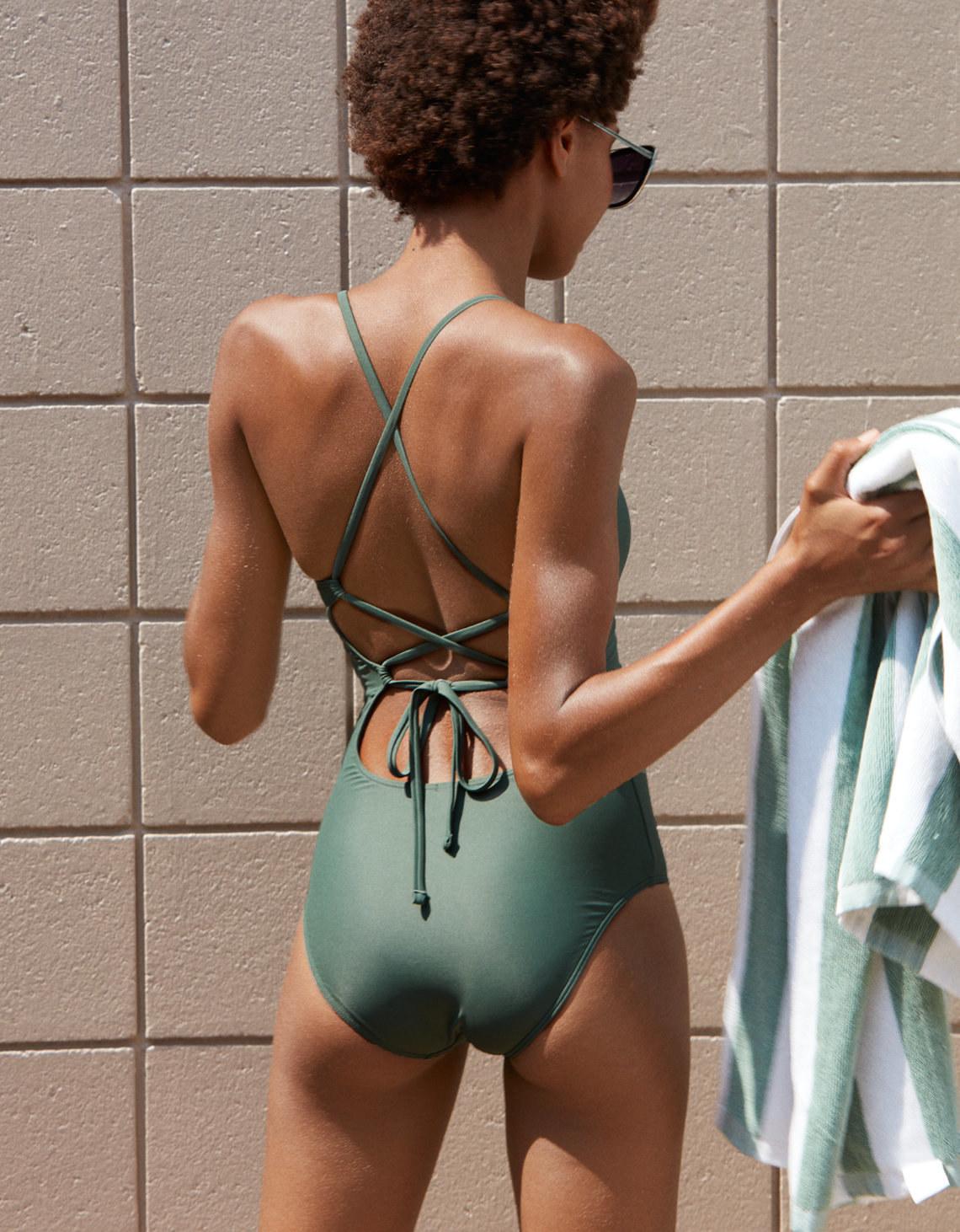 suit remove spank piece bathing One