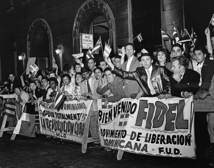 Some of the posters which greeted Fidel Castro on his arrival In New York, 1960.