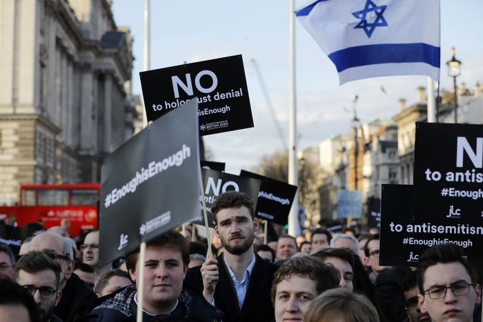 Members of the Jewish community hold a protest against anti-Semitism in the Labour party March 26.