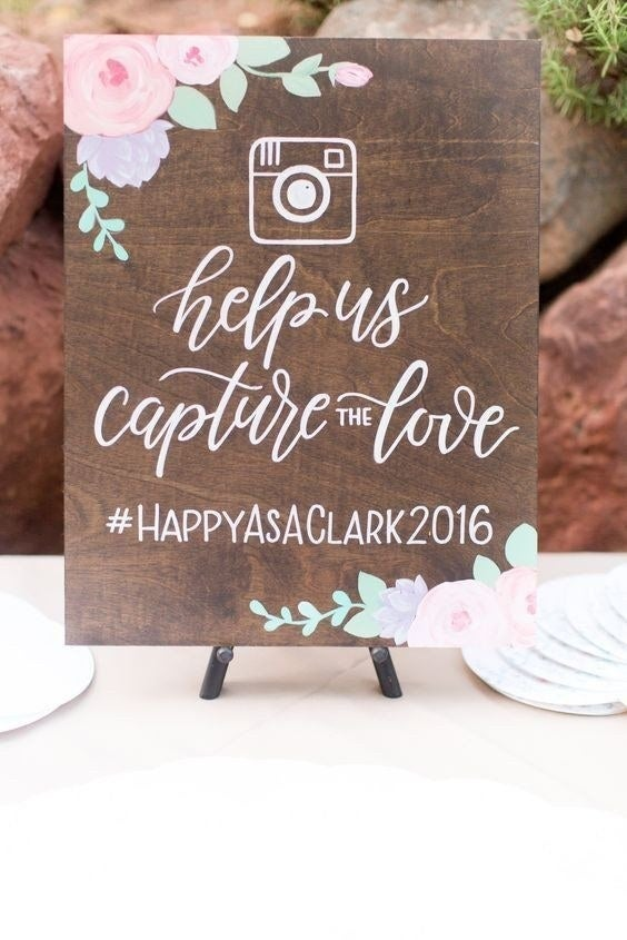 A great way to make your night memorable is to have an instagram hashtag that all your guests can use. This makes it easy for you to find pictures your guests snapped during your wedding. You can use a play on words to make this hashtag personalized!