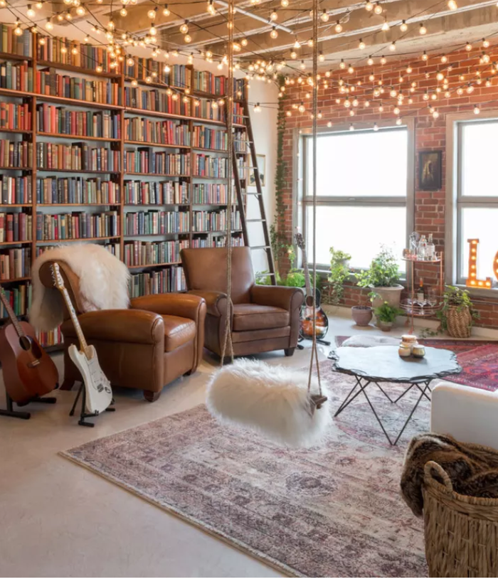 Just one more reason to buy physical books, amiright?! Lots of books make for good sound insulation, but make sure to really pack them onto the shelves, because any pockets of empty space will counteract the effects.