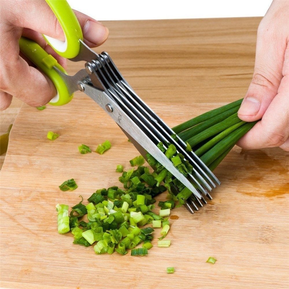 Hands using the scissors to chop scallions