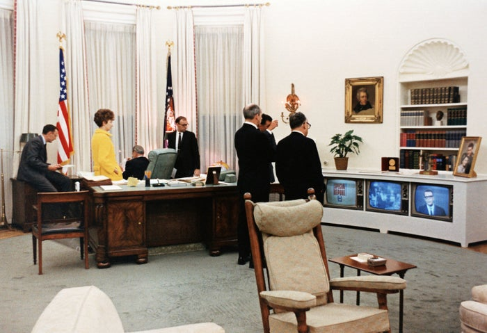 President Lyndon B. Johnson and advisers learn of the assassination of civil rights leader Martin Luther King Jr.