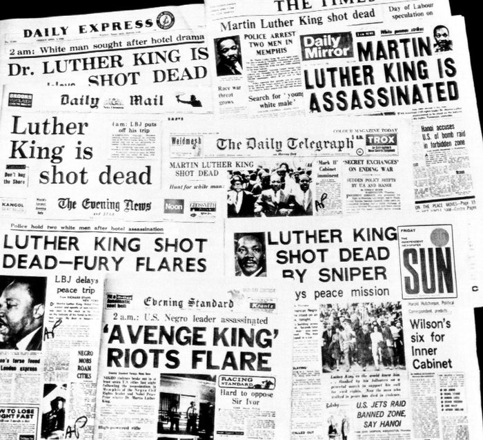 Morning newspapers in London are headlined with news of the assassination of Martin Luther King Jr. on April 5, 1968.