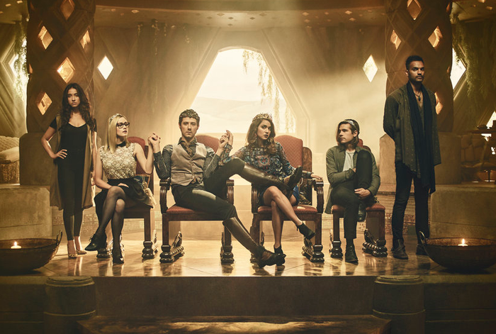 From left: Stella Maeve as Julia, Olivia Taylor Dudley as Alice, Appleman as Eliot, Bishil as Margo, Jason Ralph as Quentin, and Arjun Gupta as Penny in a promotional shot for The Magicians.