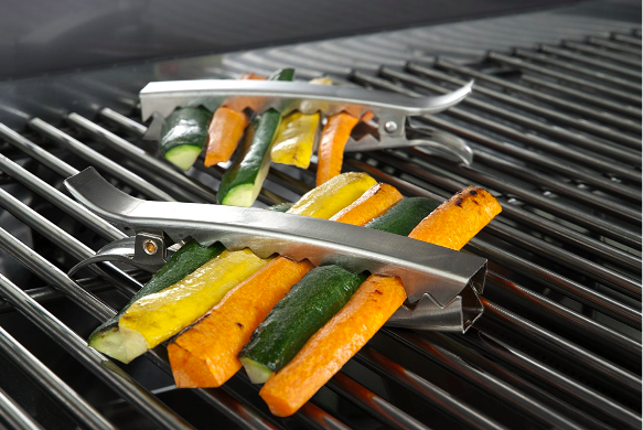 These grill clips to keep your veggies in line and make them easy to flip.