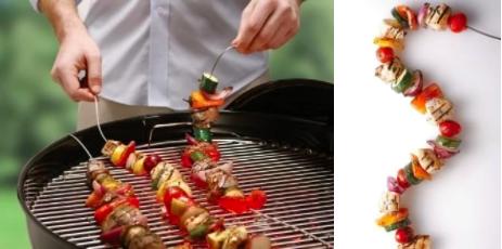 Or these flexible skewers that can free up space on your grill.