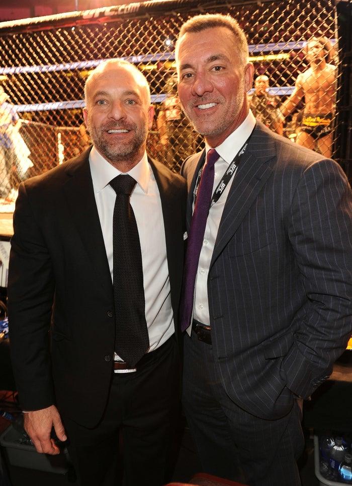 Lorenzo Fertitta and Frank Fertitta at the UFC's heavyweight championship at the Honda Center on Nov. 12, 2011, in Anaheim, California.