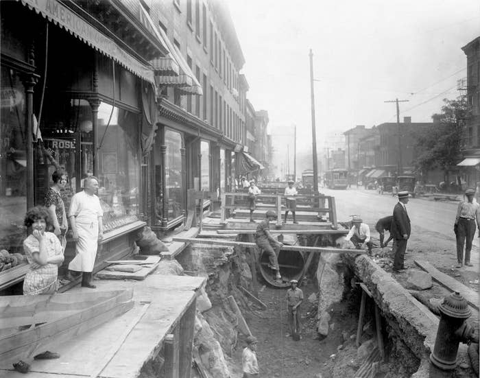 Construction of the Williamsburg Conduit on Park Avenue in Fort Greene, Brooklyn, on Aug. 4, 1925. The new pipeline connected to City Water Tunnel No. 1 and improved water supply for parts of Queens and Brooklyn.