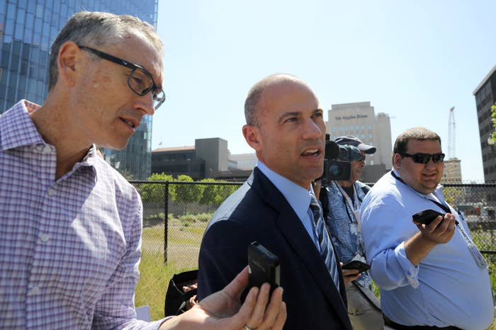 Michael Avenatti, center, outside the courthouse in Los Angeles Friday.