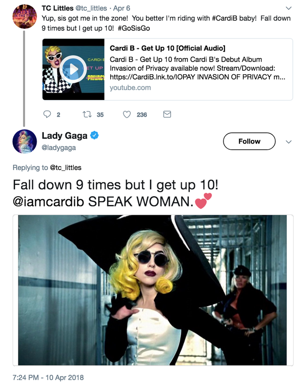 "And actually, right after Gaga reposted the video, she showed her love for Cardi B's ""Get Up 10"" song."