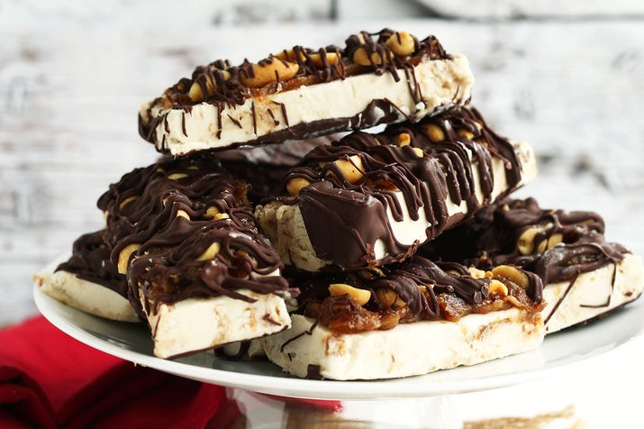 Caramel, peanut and chocolate all in one bar? These are frozen dessert perfection. Get the recipe here.