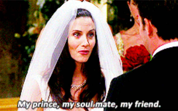 Monica appearing to change her mind about the existence of soulmates in a matter of weeks.