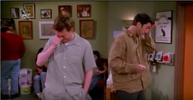 Chandler saying he can't cry despite there being plenty of evidence to the contrary.