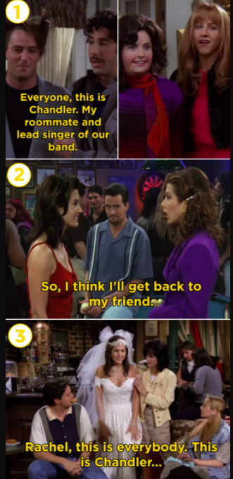 """Rachel and Chandler meeting """"for the first time"""" on three separate occasions."""