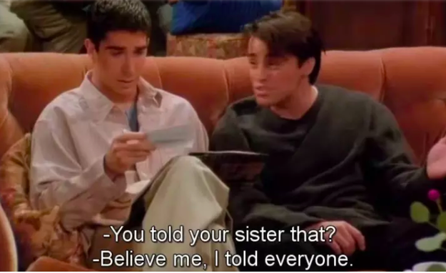Monica forgetting that Ross told her when he lost his virginity.
