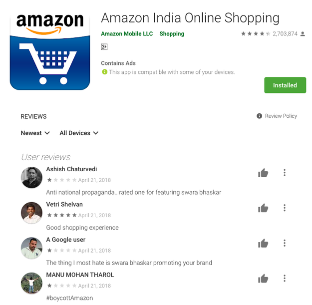 Some of them also left one-star ratings on Amazon's app in the Indian Google Play store, and left outraged comments as app reviews.