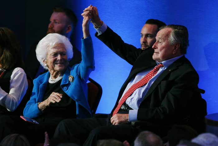 """George and Barbara met when she was just 16, and he 17.""""He was the only boy she ever kissed,"""" said Jon Meacham, a historian and presidential biographer, who spoke at the funeral. Son Jeb Bush said he had a """"front row seat to the most amazing love story."""" He recalled a recent story of his mother ill in hospital and his father needing to be admitted the next day.""""I think dad got sick on purpose so he could be with her,"""" said Jeb. He said his ill father sat holding his mother's hand while she slept, with his hair messy and wearing a breathing mask (""""he looked like hell""""). When Barbara woke up, she looked at her husband and declared, """"My god, George, you are devastatingly handsome."""""""
