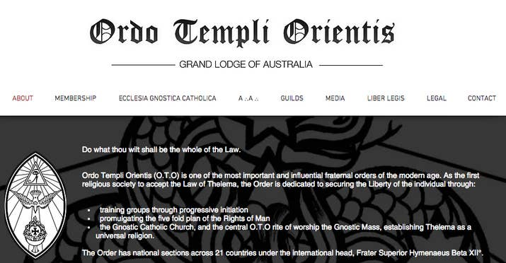 The website for Ordo Templi Orientis in Australia.
