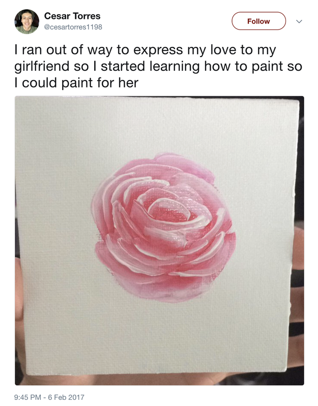 This boyfriend who learned how to paint so that he had another way to express his love for her: