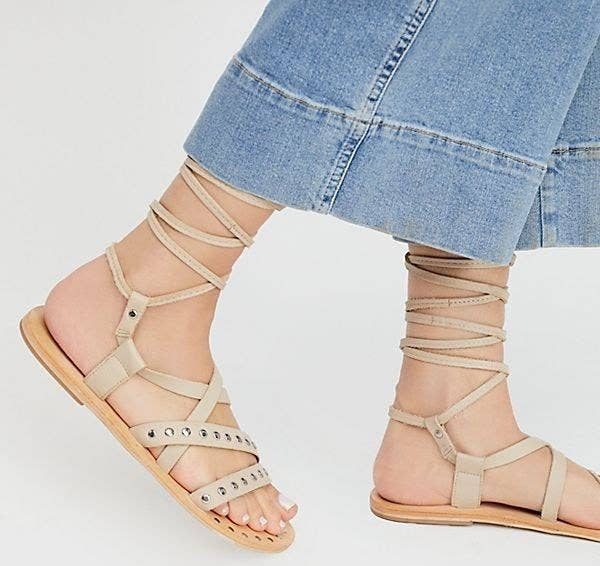 077283c19d599 A pair of studded wraparound sandals to make you feel like the Grecian  goddess you know you are.