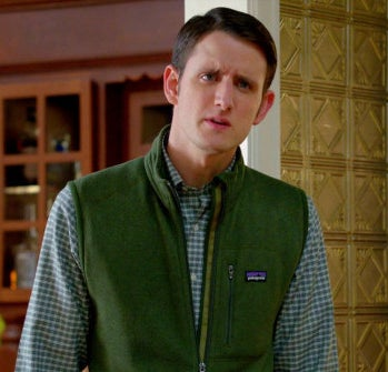 The character Jared (played by Zach Woods) from the show Silicon Valley wears a signature green vest.