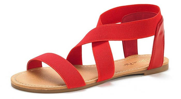 18aaf62d5119 A pair of ankle-strap sandals with an elastic strap