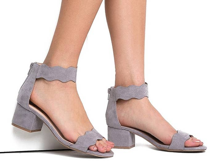 95ba9a9e304c Vegan suede sandals with scalloped straps sure to ~wiggle~ their way into  your heart.