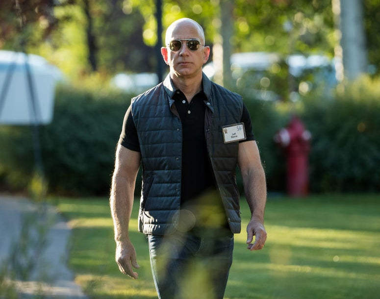 Jeff Bezos, CEO of Amazon, wearing a quilted vest.
