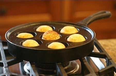 A puff pancake pan for making doughy, delicious treats filled with anything you can think of.