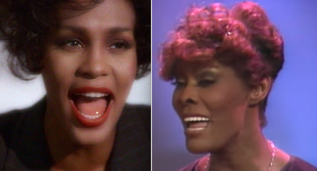 Whitney Houston and Dionne Warwick are  cousins : -  And they each have seven Grammy Awards to their names.