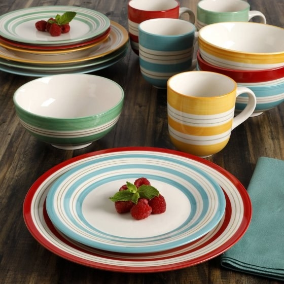 A striped dinnerware set for the host with unparalleled taste.