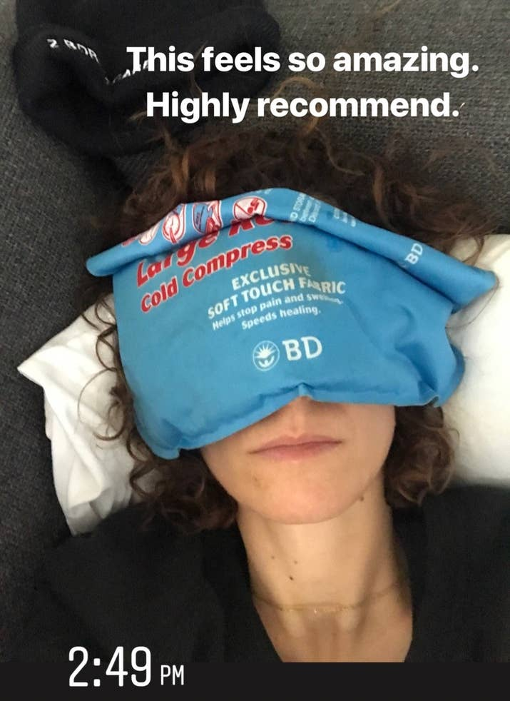Arielle: I actually didn't even think of this, but I might give it a go??Jamie: Also this was so nice. I actually kept the cold compress in the fridge instead of in the freezer so it wasn't so cold I couldn't put it directly on my face. I still do this from time to time when I got to sleep. It's just nice.