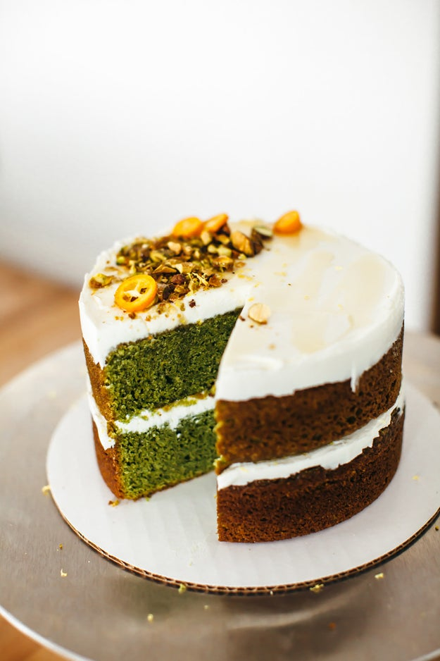 Fresh Mint Olive Oil Cake With Labneh and Honey