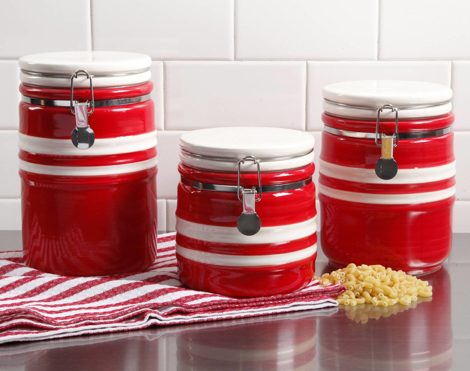 Cherry red canisters to brighten up your kitchen while keeping your ingredients safe from pests.