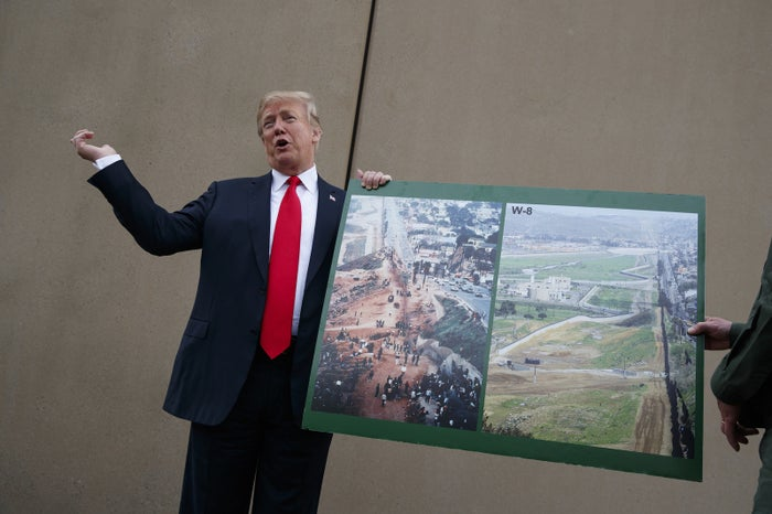 Trump in front of a border wall prototype in San Diego on March 13.