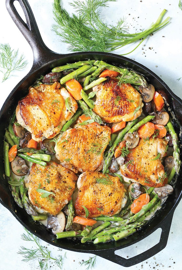 Skillet Chicken With Creamy Spring Vegetables