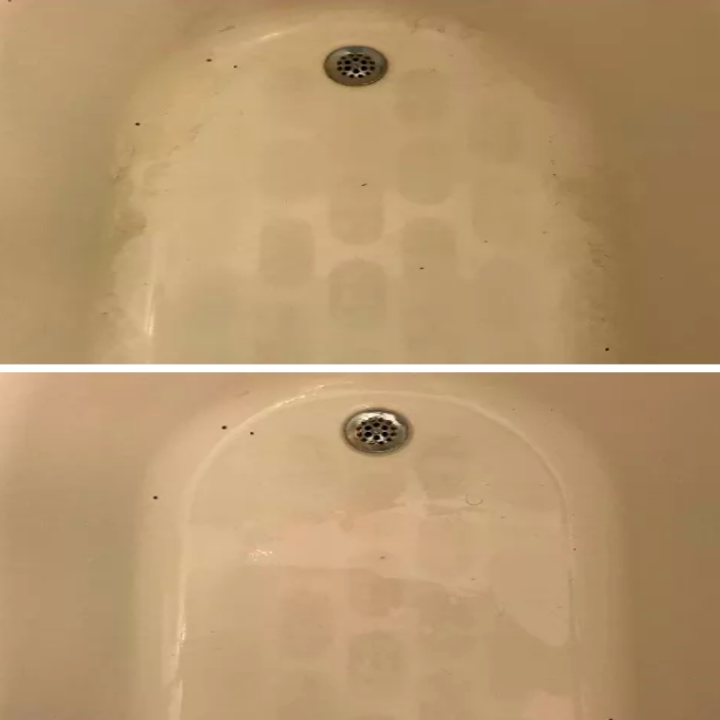 the same editor's before and after photo of their tub after cleaning it with the product