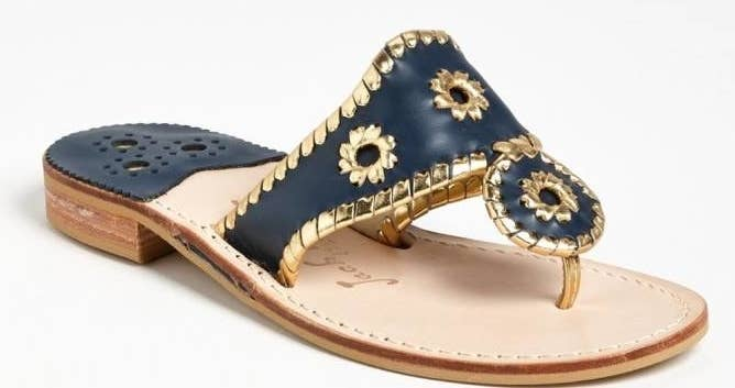 59ac057e70e1aa A soft-leather pair of Jack Rogers flip-flops with contrasting metallic  stitches and a fun floral design.