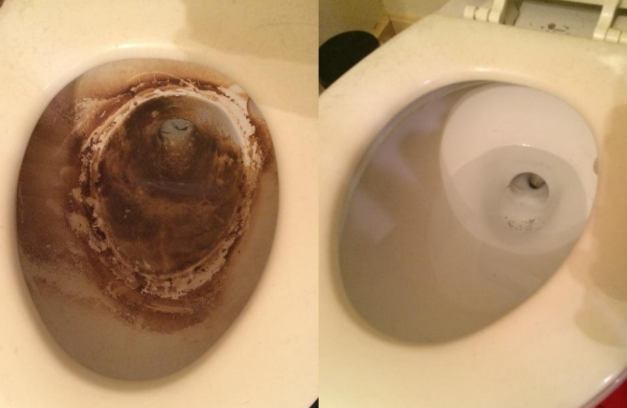 on the left, the inside of a reviewer's toilet looking dirty, and on the right, the same toilet looking clean