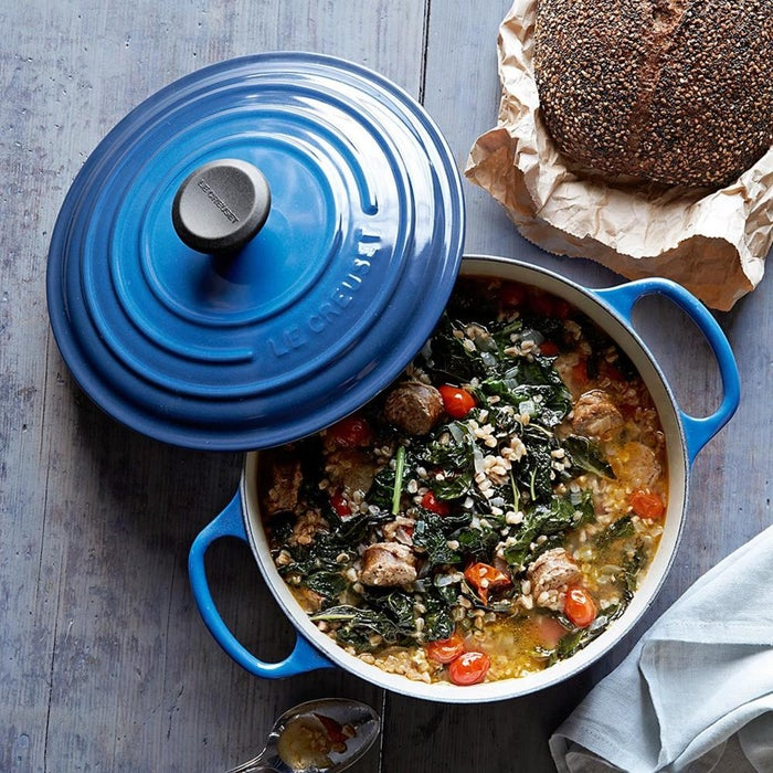 """Le Creuset cookware is often passed down like a family heirloom, so it's kind of like a gift to yourself, TBH.Promising review: """"I received a six-quart Lapis Blue Le Creuset Dutch oven as a wedding gift over 31 years ago. I have used it for everything under the sun. It is very well loved and very well used! It is my favorite soup-making pot. The best part is it looks literally brand new. The handle, the paint, the interior are flawless. And I have used it in the oven, on high heat on the stove for extended periods of time, and then right into the dishwasher. I have replaced literally everything else in my kitchen over the years except my Dutch oven. My step-daughter just got engaged and we will be giving her her own Le Creuset dutch oven this Christmas. I can't recommend it highly enough, it is a beautiful and worth-every-penny staple for any kitchen."""" —BugseyGirlGet it from Amazon for $379.95 (available in 12 colors) or Williams Sonoma for $380 (available in 18 colors)."""