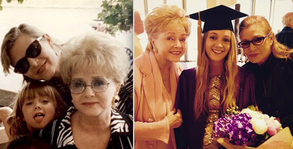 Billie Lourde's  mom  is Carrie Fisher, and her  grandmother  is Debbie Reynolds: -  You know Billie from  Scream Queens , but her late mom will always be known as Princess Leia (and a fantastic writer), and her late grandmother will be remembered as Kathy from  Singin' in the Rain  or Aggie Cromwell from  Halloweentown . — sorryimheather