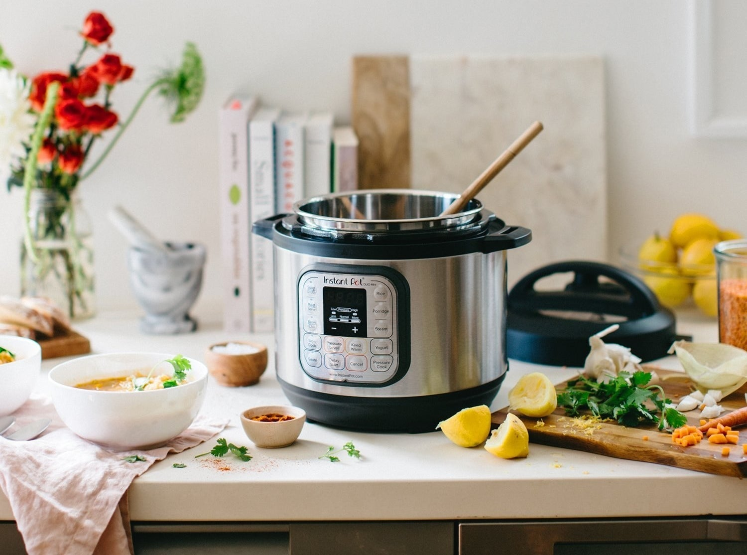 """[bad '90s comedian voice]: """"So what WON'T it do?"""" Well, it *will* serve as a rice cooker, pressure cooker, slow cooker, steamer, sauté, yogurt maker and warmer. (Phew.) Unconvinced? Read our full review on the Instant Pot and weep for the all the time you wasted not owning one.Promising review: """"There are so many people who say they can't cook, but I swear I'm on a whole new level of not being able to cook. This little appliance helps expand our menu and I have learned to do so much with it. I will sum up in a nutshell, I love how easy it is and how everything I throw in it comes out done. No stirring and not many messy dishes. I still don't love it for meats, (which I don't eat much of anyway), but I think that's just a matter of needing to experiment more with them. I seriously can't believe how many foods can be cooked in here!"""" —AundreaGet it from Amazon for $69.95+ (two sizes)."""